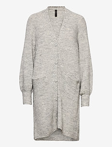 YASALLU LS LONG KNIT CARDIGAN S. - cardigans - light grey melange