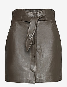 YASRURA HW LEATHER SKIRT - kurze röcke - black olive