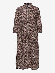 YASMILANA 3/4 LONG DRESS FT S. - skjortekjoler - black