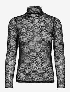 YASFLORISA LS LACE TOP - langärmlige tops - black