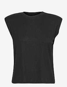 YASELLE SS PADDED SHOULDER TOP S. - t-shirts - black