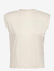 YASELLE SS PADDED SHOULDER TOP S. - t-shirts - eggnog