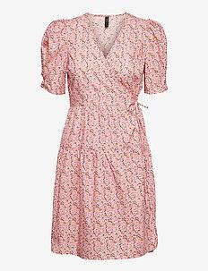 YASRICCA SS WRAP DRESS S. - sommerkjoler - roseate spoonbill