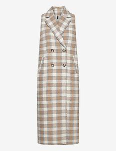 YASCHIRO SL LONG WAISTCOAT - light coats - creme