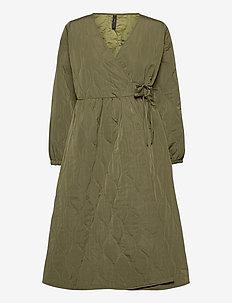 YASWENNA 7/8 WRAP DRESS FT - robes portefeuille - khaki