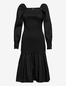 YASABELIA LS SMOCK MIDI DRESS SOLID -D2D - sommerkjoler - black