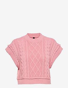 YASFREYA CROPPED KNIT GILET - CA - strikveste - fuchsia pink