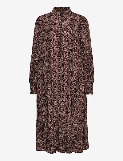 YASLAIVO LS MIDI SHIRT DRESS S. - summer dresses - mocha mousse