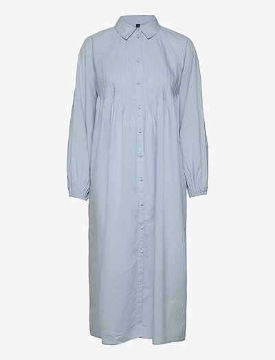 YASTRIO LS MIDI SHIRT DRESS S. - maxi dresses - cashmere blue