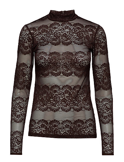 YASLACELY LS HIGHNECK TOP - CHOCOLATE PLUM