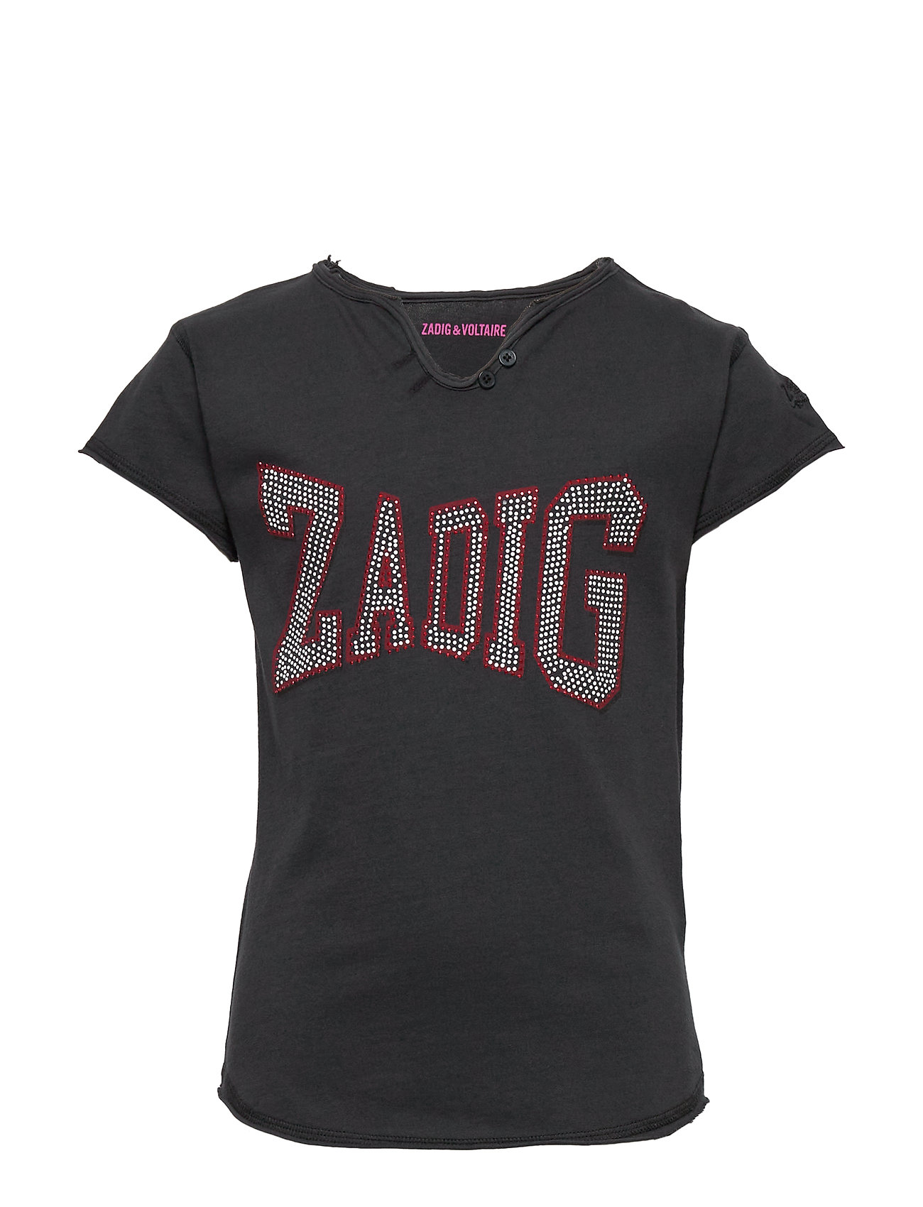 Zadig & Voltaire Kids SHORT SLEEVES TEE-SHIRT - CHARCOAL GREY