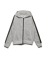 FLEECE CARDIGAN - CHINE GREY