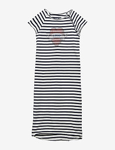 DRESS - BLUE  WHITE