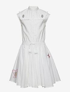 SLEEVELESS DRESS - sukienki - white