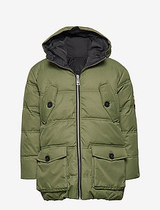 REVERSIBLE PUFFER JACKET - BLACK  KHAKI