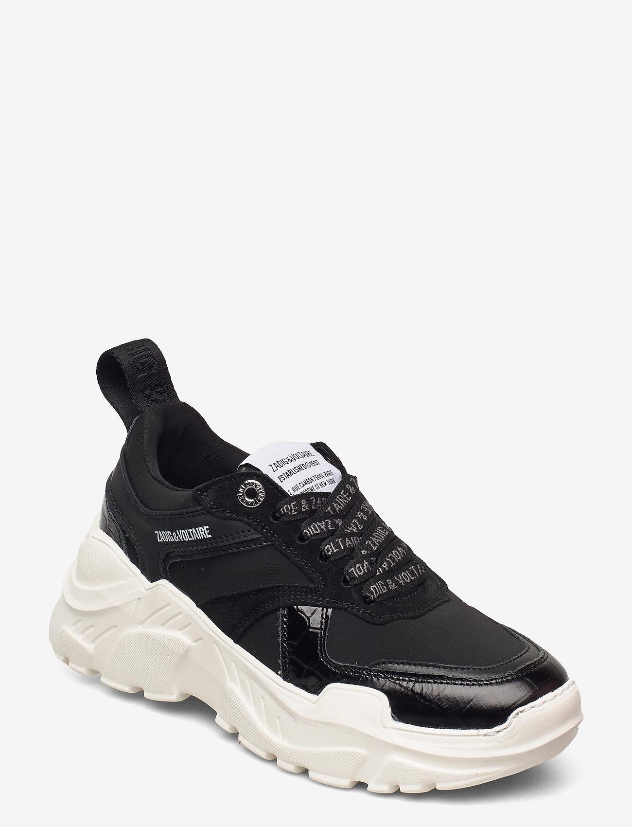 Zadig & Voltaire - FUTURE EMBOSSED CROCO + MIX NEOPRENE - chunky sneakers - black - 0