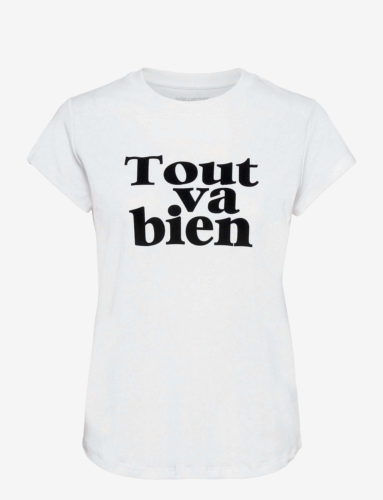 Zadig & Voltaire - WOOP TOUT VA BIEN COTTON T-SHIRT FLOCK - t-shirts - white - 1