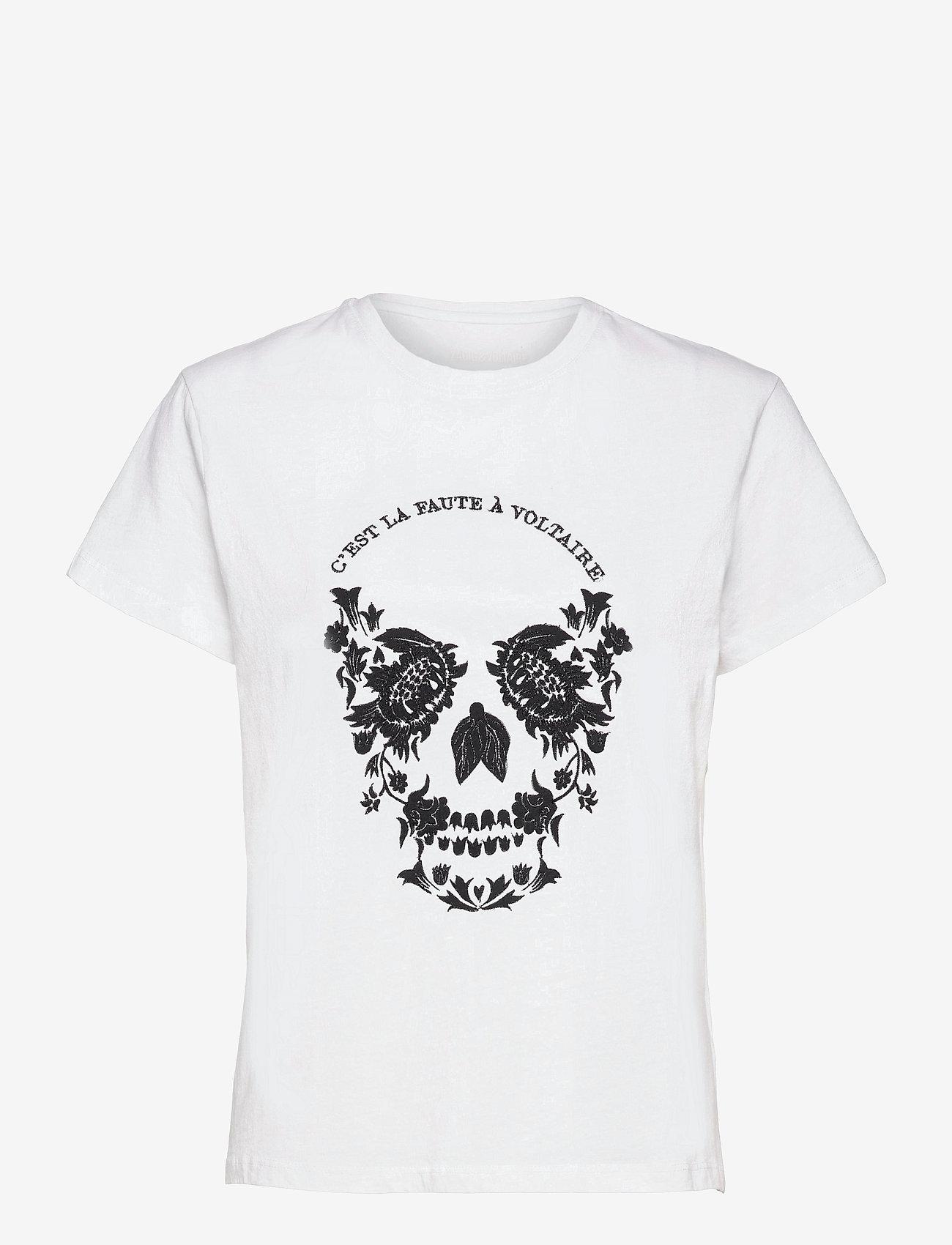 Zadig & Voltaire - ZOE SKULL VOLTAIRE COTTON T-SHIRT PRINT/ EMBROIDER - t-shirts - white - 1