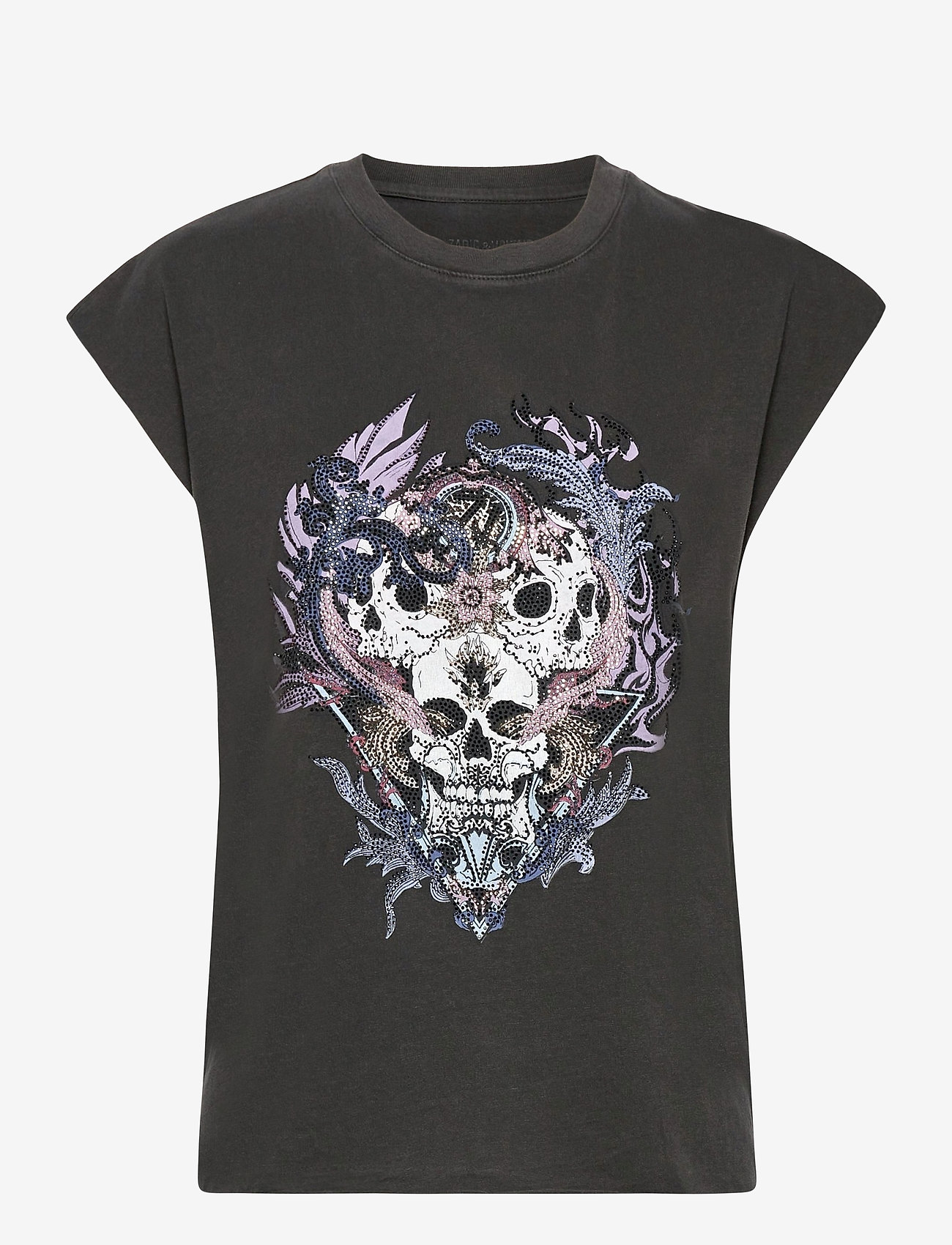 Zadig & Voltaire - WENY COMPO SKULL STRASS COTTON TANK TOP - t-shirts - carbon - 1