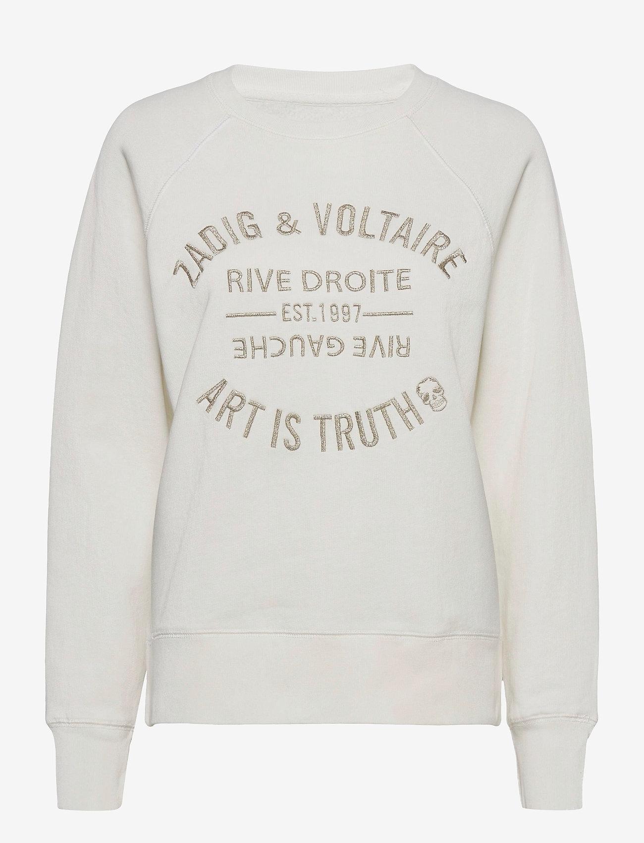 Zadig & Voltaire - UPPER BLASON BRODE TONAL EMBROIDERED COTTON SWEATS - sweatshirts & hættetrøjer - ivory - 1