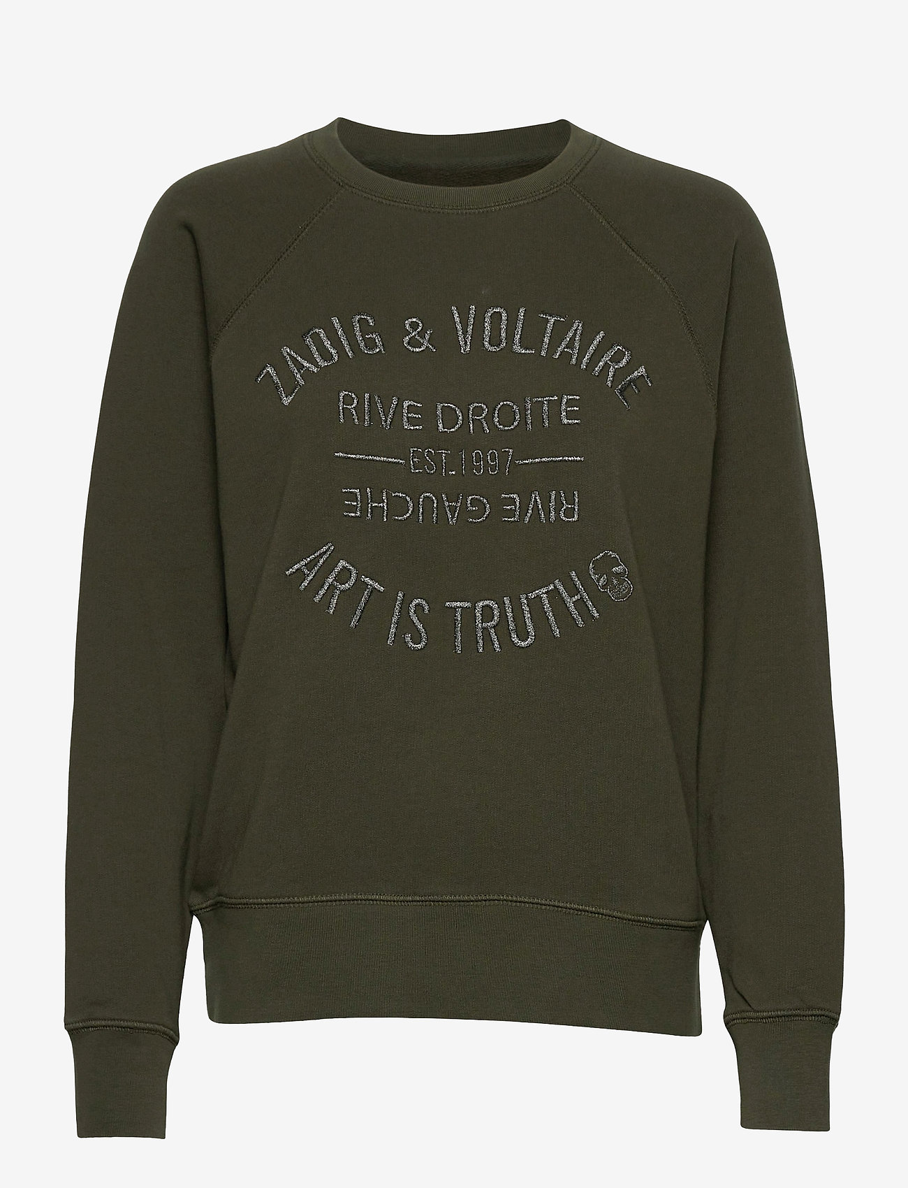 Zadig & Voltaire - UPPER BLASON BRODE TONAL EMBROIDERED COTTON SWEATS - sweatshirts & hættetrøjer - khaki - 1