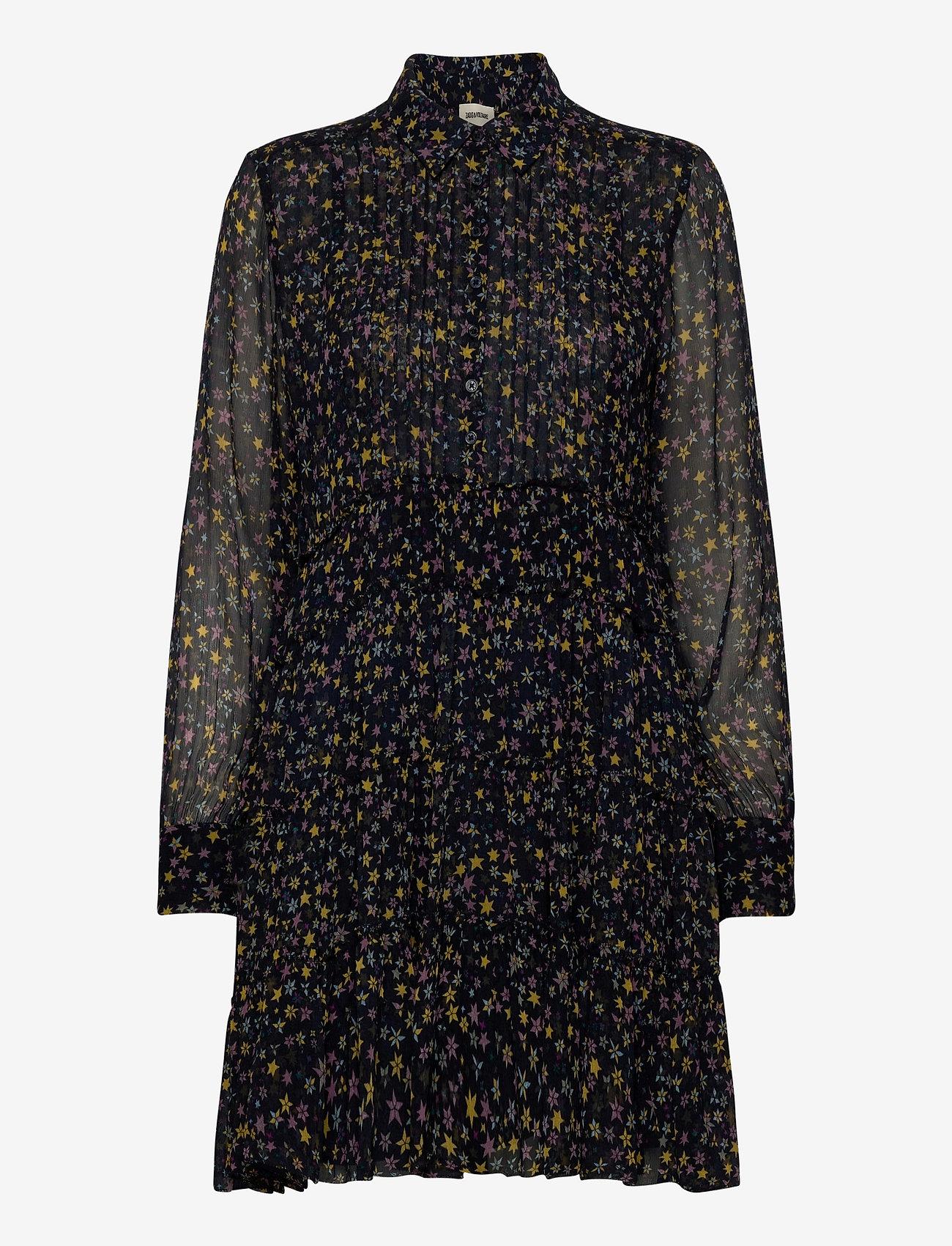Zadig & Voltaire - RAPIDY CRINKLE PRINT ETOILES ROBE - midi kjoler - navy blue - 0