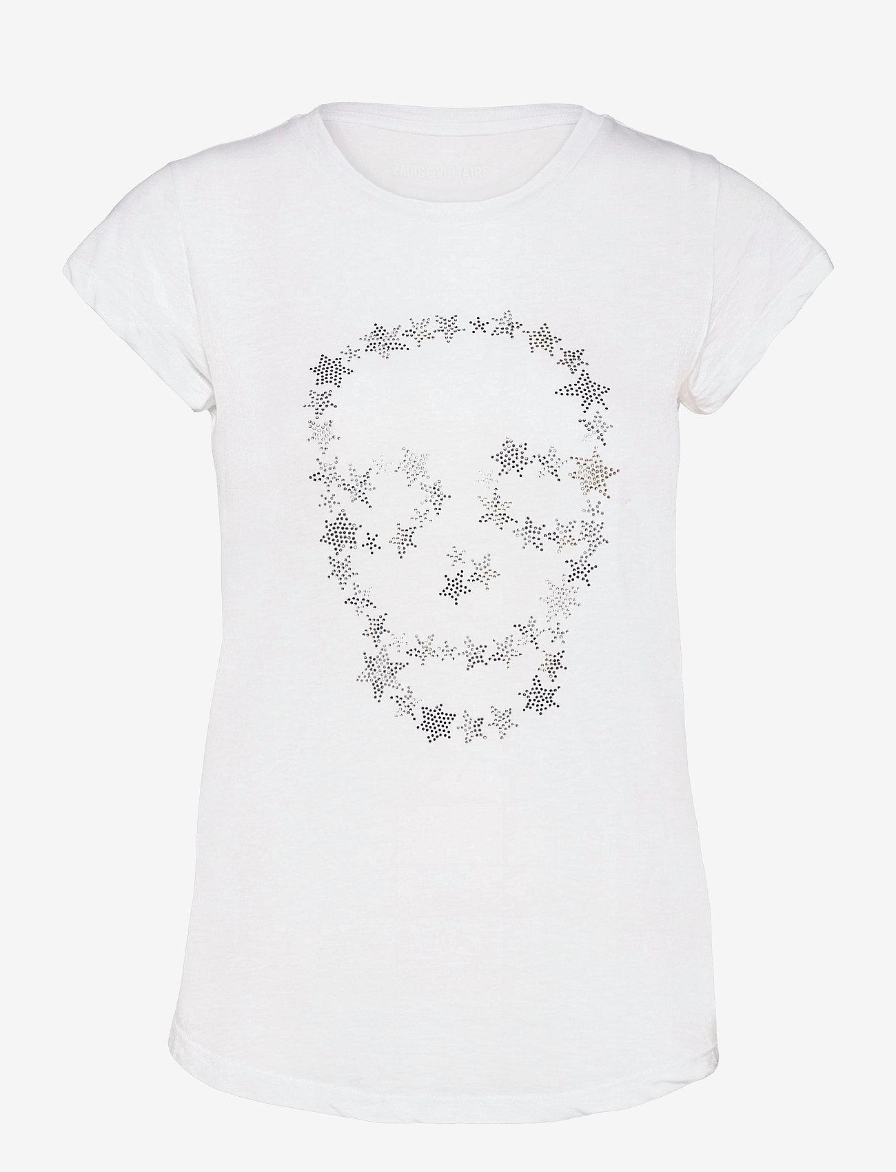 Zadig & Voltaire - SKINNY STRASS SKULL STARS CO/MODAL T-SHIRT - t-shirts - white - 1