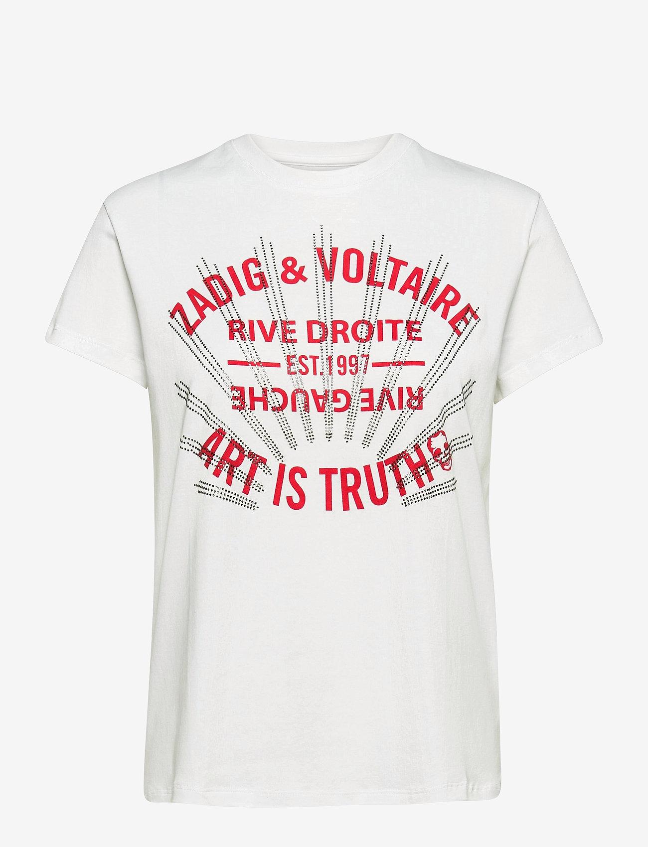 Zadig & Voltaire - ZOE BLASON STRASS T-SHIRT - t-shirts - white - 1