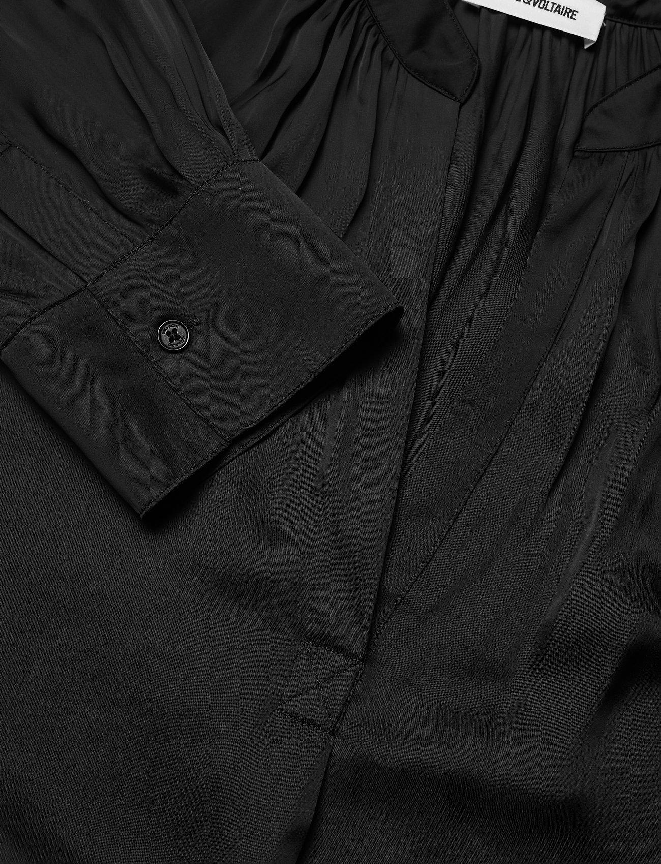 Zadig & Voltaire - TINK SATIN TUNIC BLOUSE PERMANENT - langærmede bluser - black - 2