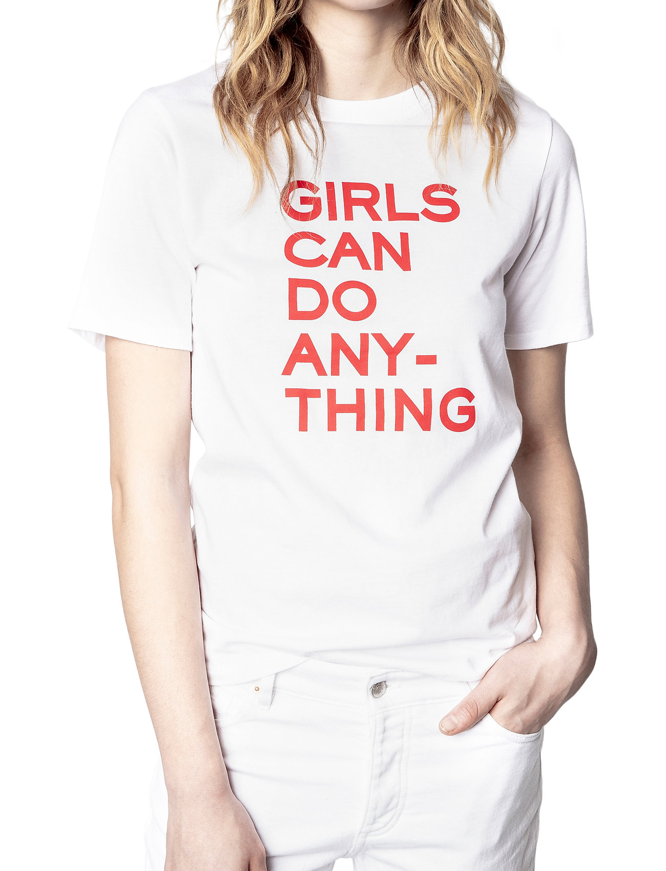Zadig & Voltaire - BELLA COTTON INTERLOCK PRINTED T-SHIRT - t-shirts - white/red - 0