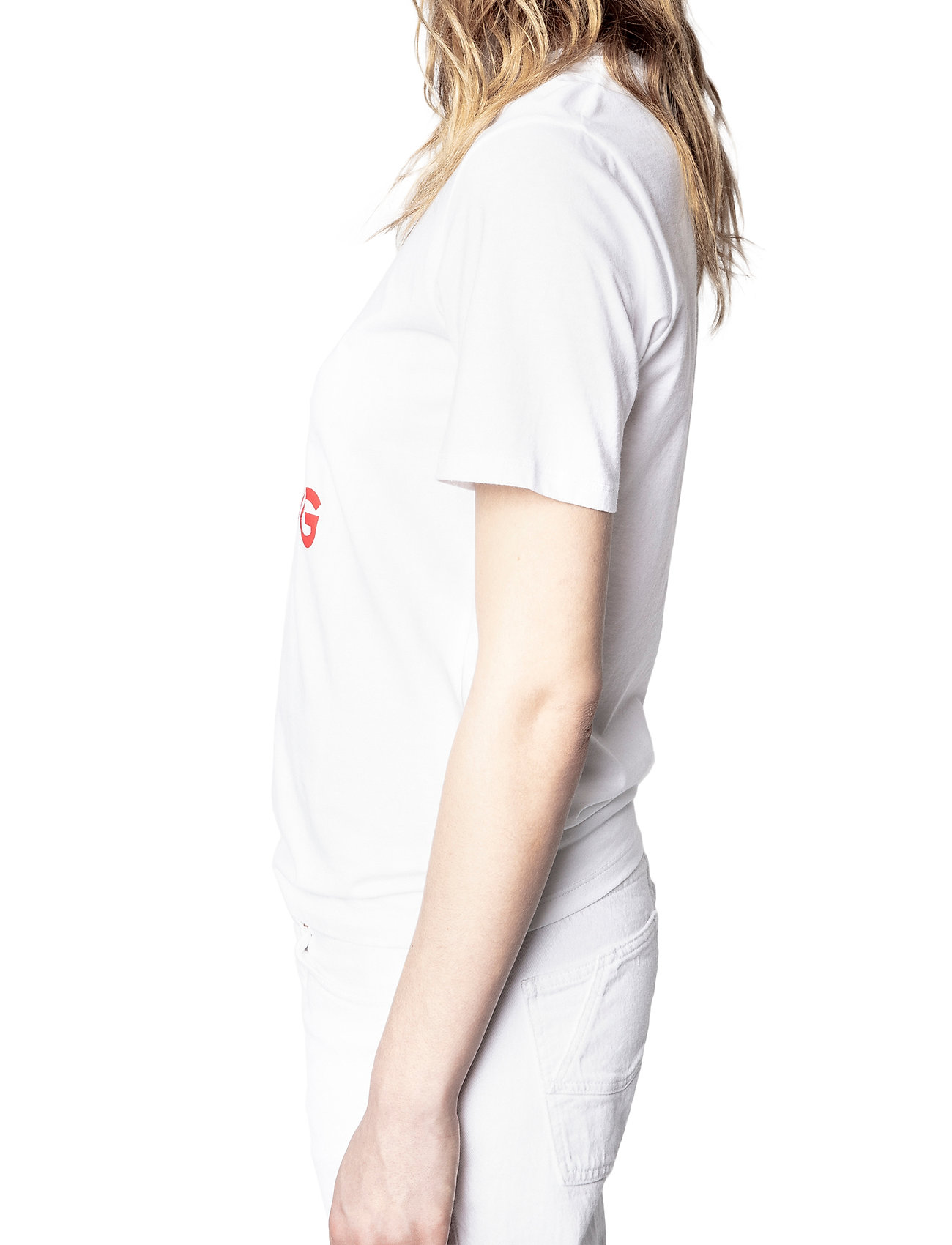 Zadig & Voltaire - BELLA COTTON INTERLOCK PRINTED T-SHIRT - t-shirts - white/red - 4