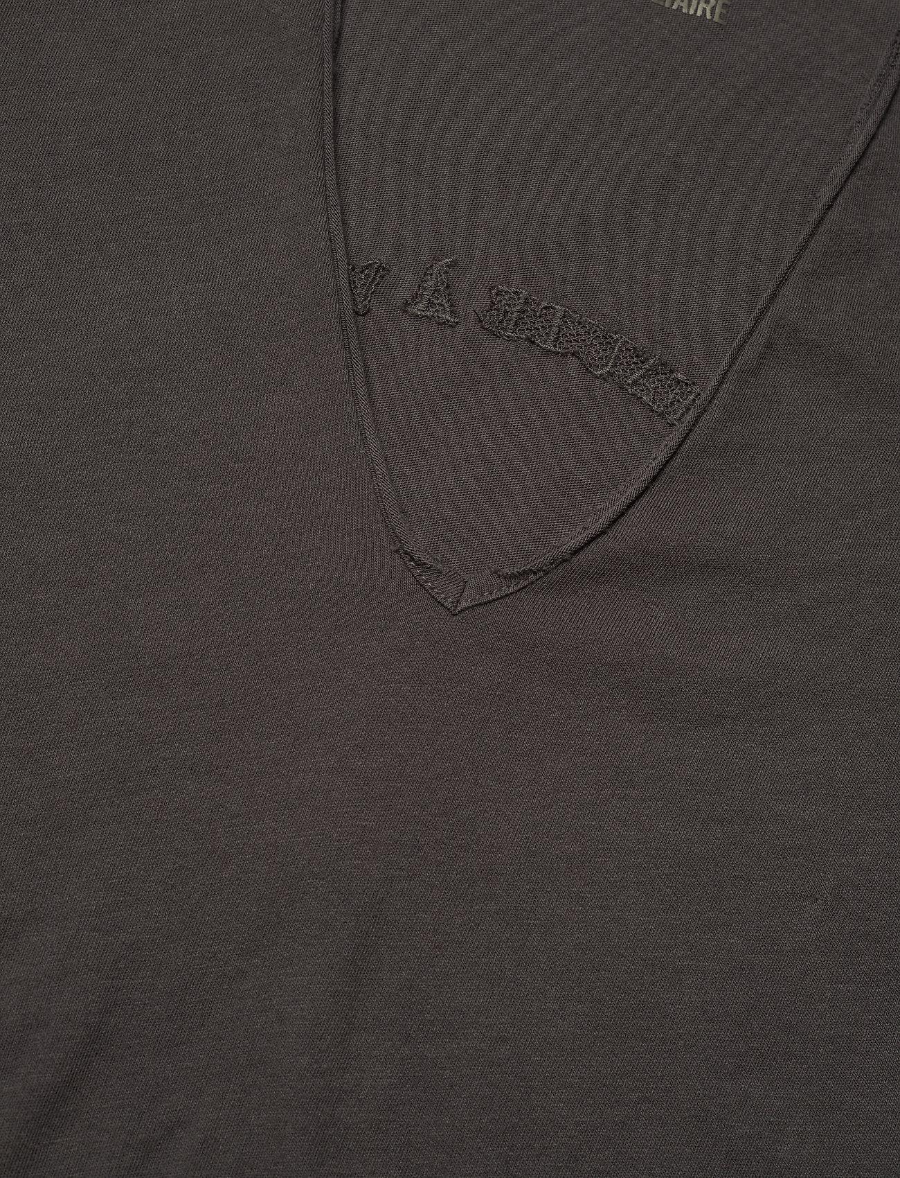 Zadig & Voltaire - STORY FISHNET V-NECK COTTON T-SHIRT - t-shirts - carbon - 2