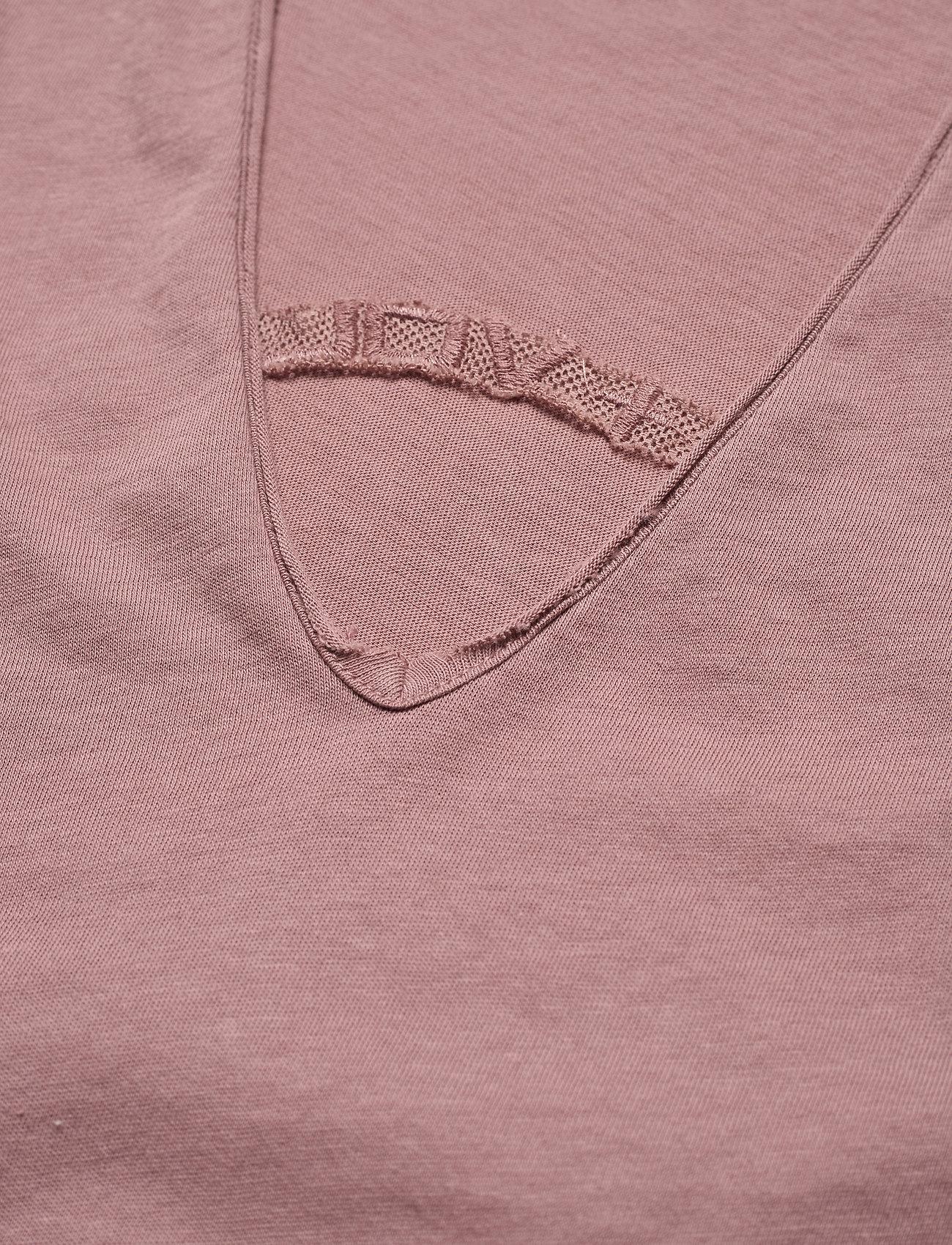Zadig & Voltaire - STORY FISHNET V-NECK COTTON T-SHIRT - t-shirts - violet - 2
