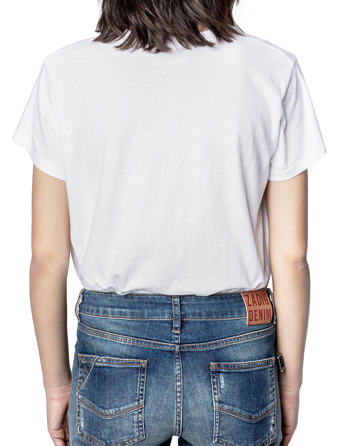 Zadig & Voltaire - ZOE SKULL VOLTAIRE COTTON T-SHIRT PRINT/ EMBROIDER - t-shirts - white - 4