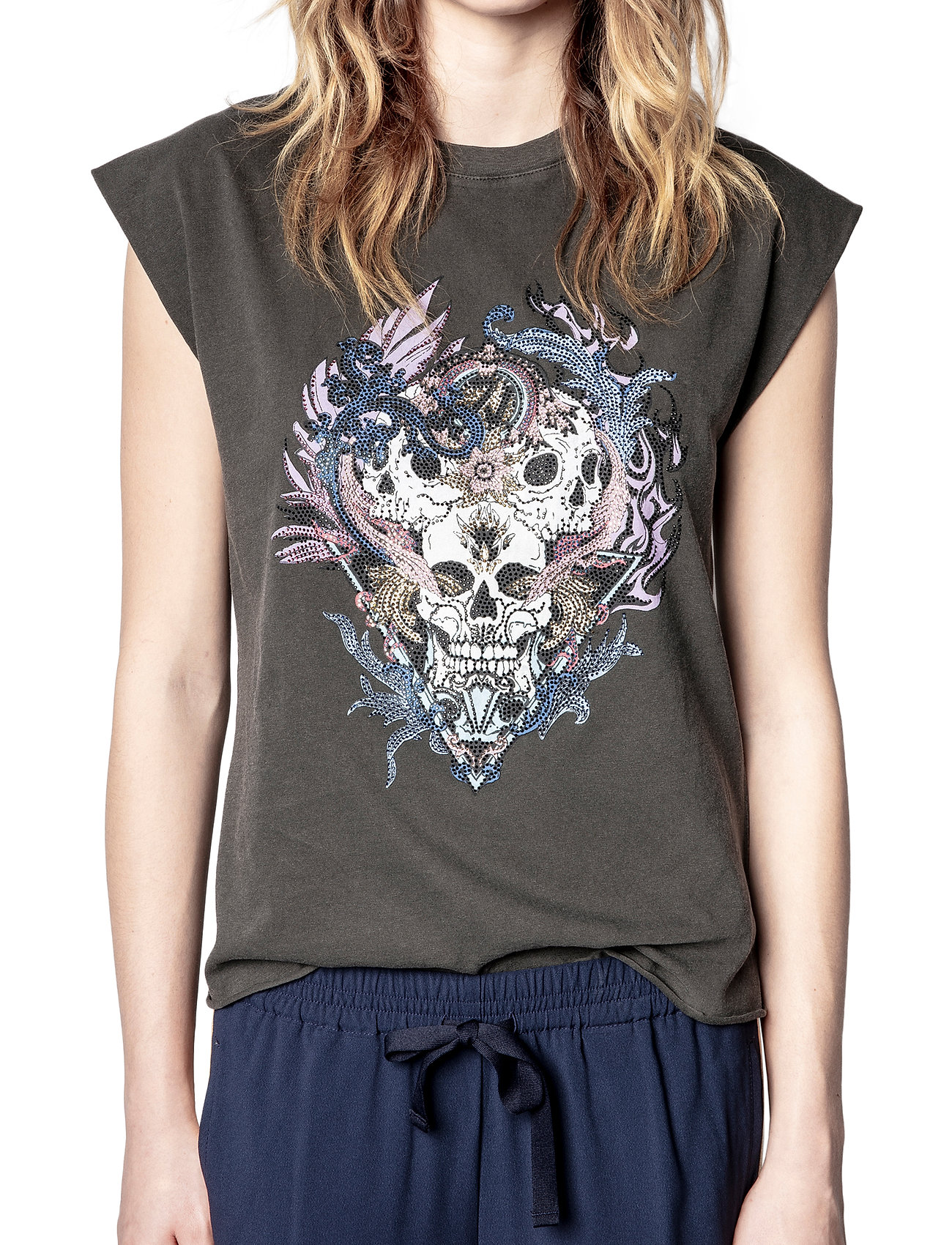 Zadig & Voltaire - WENY COMPO SKULL STRASS COTTON TANK TOP - t-shirts - carbon - 0