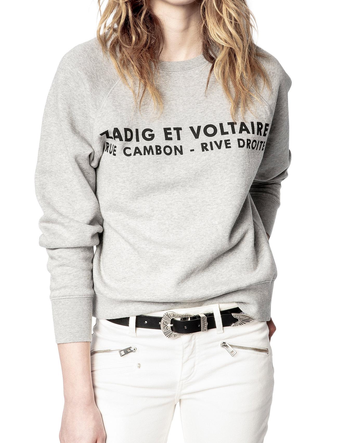 Zadig & Voltaire - UPPER ZV ADDRESS ORGANIC COTTON PRINTED SWEATSHIRT - sweatshirts & hættetrøjer - melange grey - 0