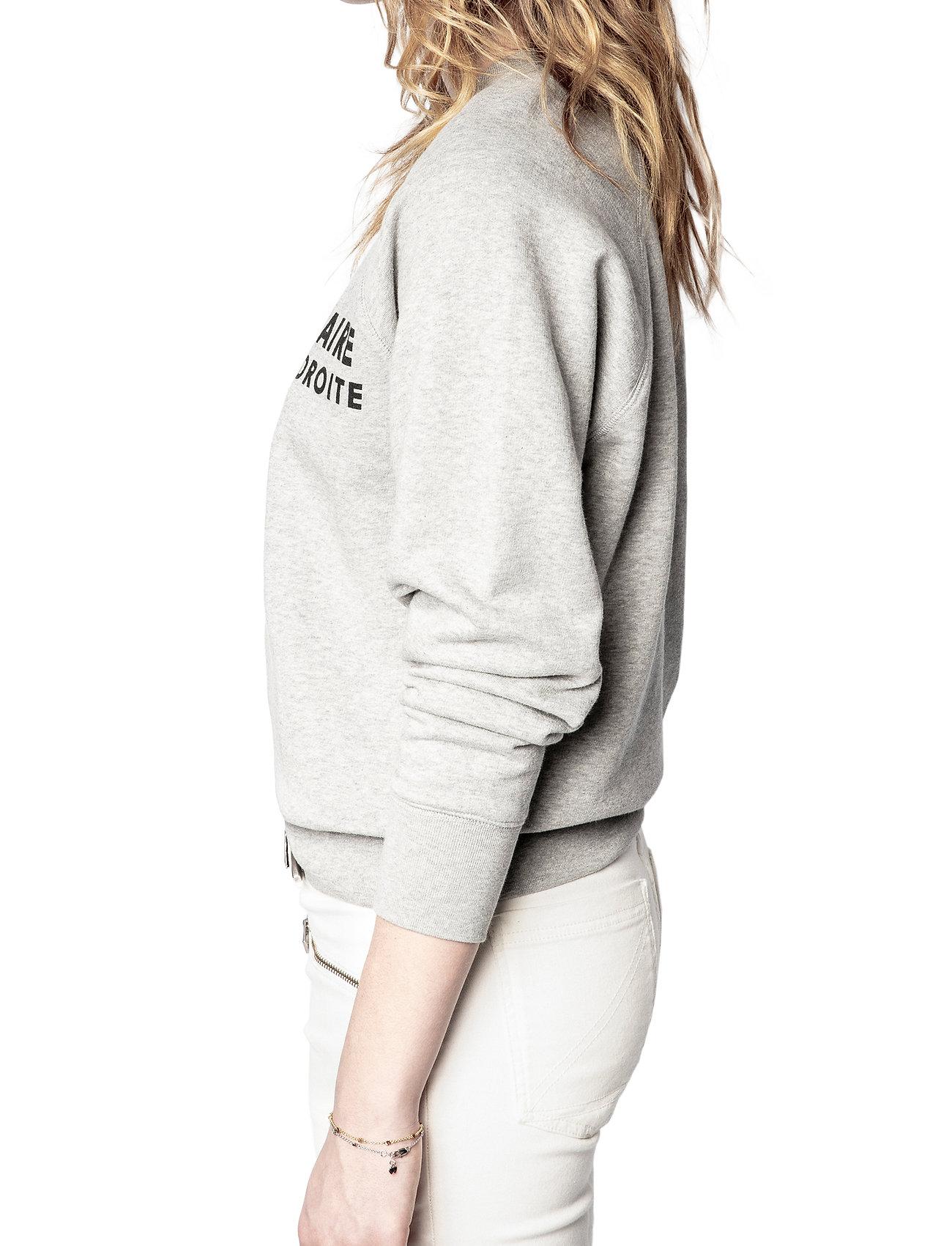 Zadig & Voltaire - UPPER ZV ADDRESS ORGANIC COTTON PRINTED SWEATSHIRT - sweatshirts & hættetrøjer - melange grey - 5