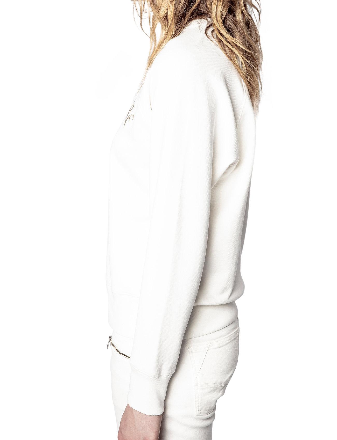Zadig & Voltaire - UPPER BLASON BRODE TONAL EMBROIDERED COTTON SWEATS - sweatshirts & hættetrøjer - ivory - 4