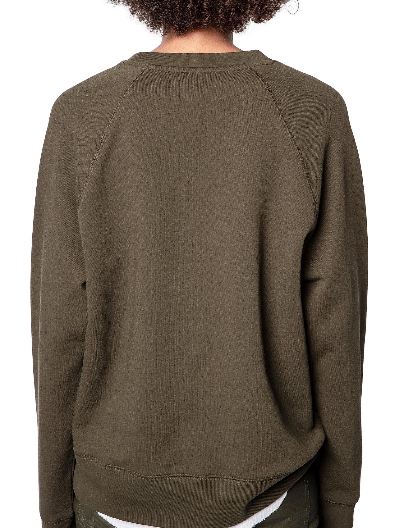 Zadig & Voltaire - UPPER BLASON BRODE TONAL EMBROIDERED COTTON SWEATS - sweatshirts & hættetrøjer - khaki - 4