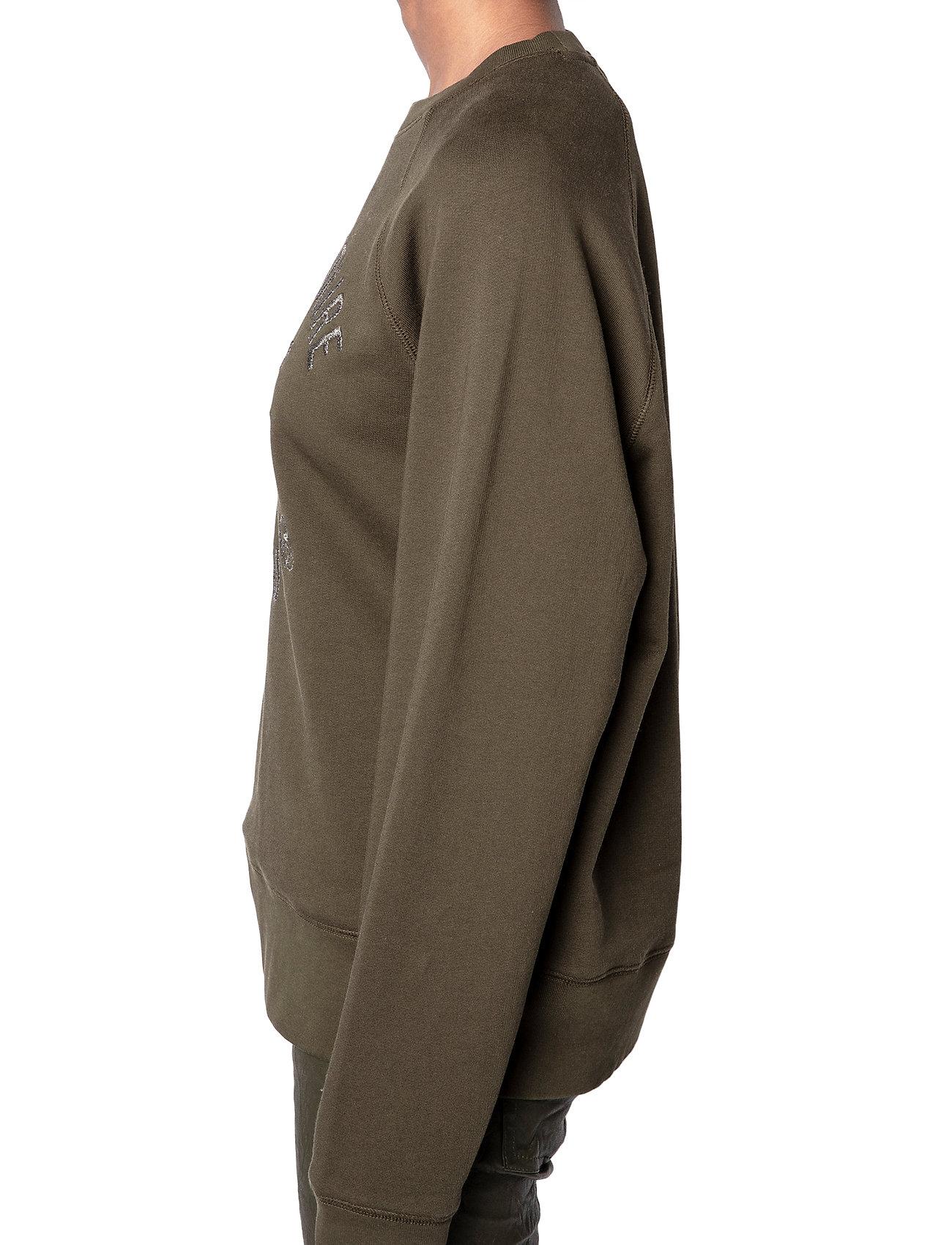 Zadig & Voltaire - UPPER BLASON BRODE TONAL EMBROIDERED COTTON SWEATS - sweatshirts & hættetrøjer - khaki - 5