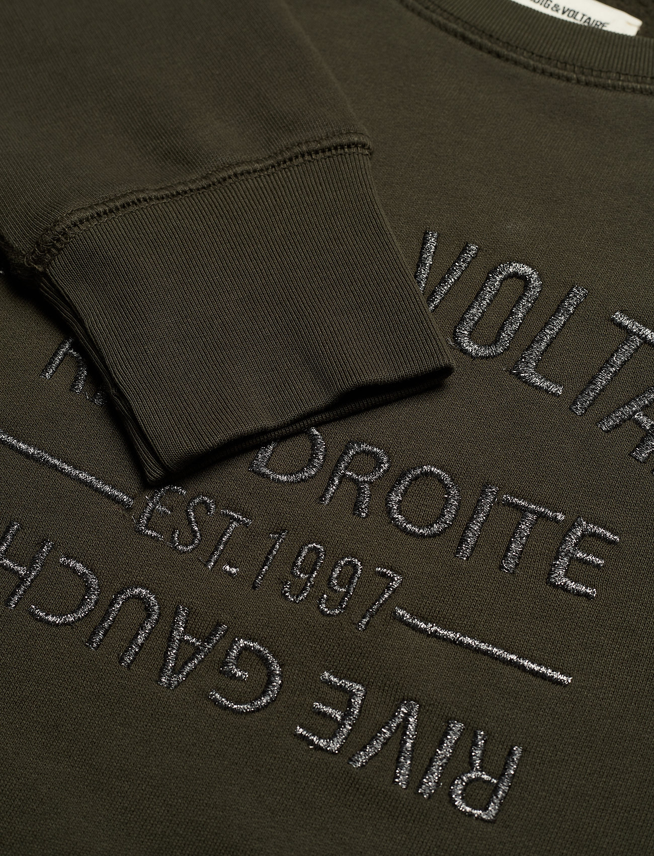 Zadig & Voltaire - UPPER BLASON BRODE TONAL EMBROIDERED COTTON SWEATS - sweatshirts & hættetrøjer - khaki - 3