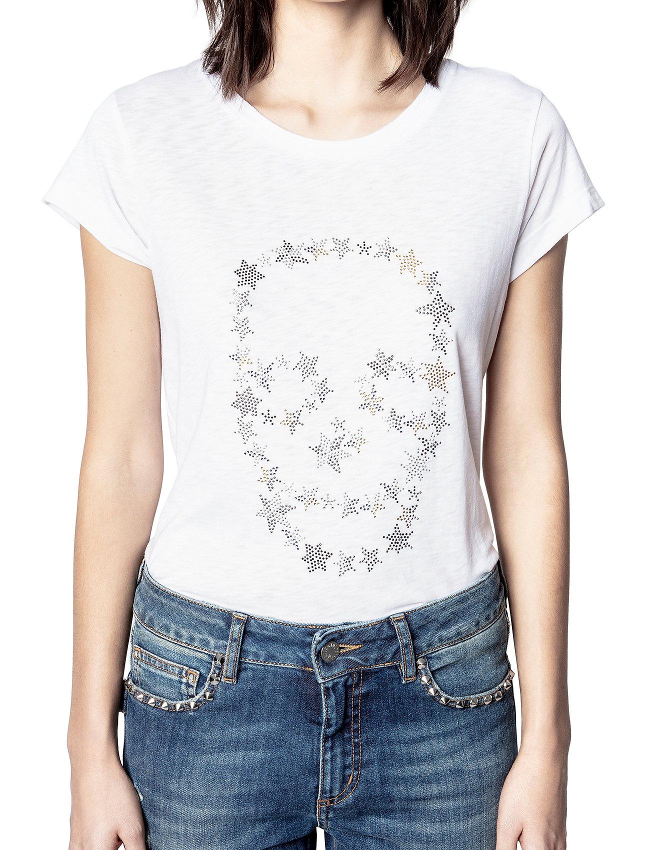 Zadig & Voltaire - SKINNY STRASS SKULL STARS CO/MODAL T-SHIRT - t-shirts - white - 0