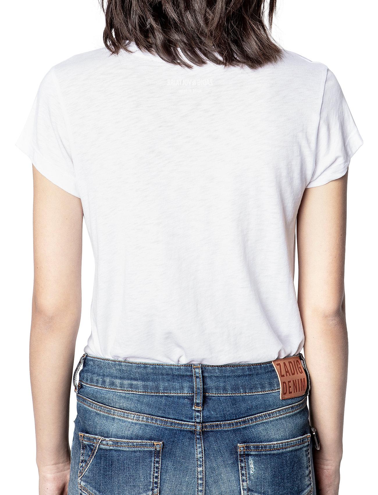 Zadig & Voltaire - SKINNY STRASS SKULL STARS CO/MODAL T-SHIRT - t-shirts - white - 4