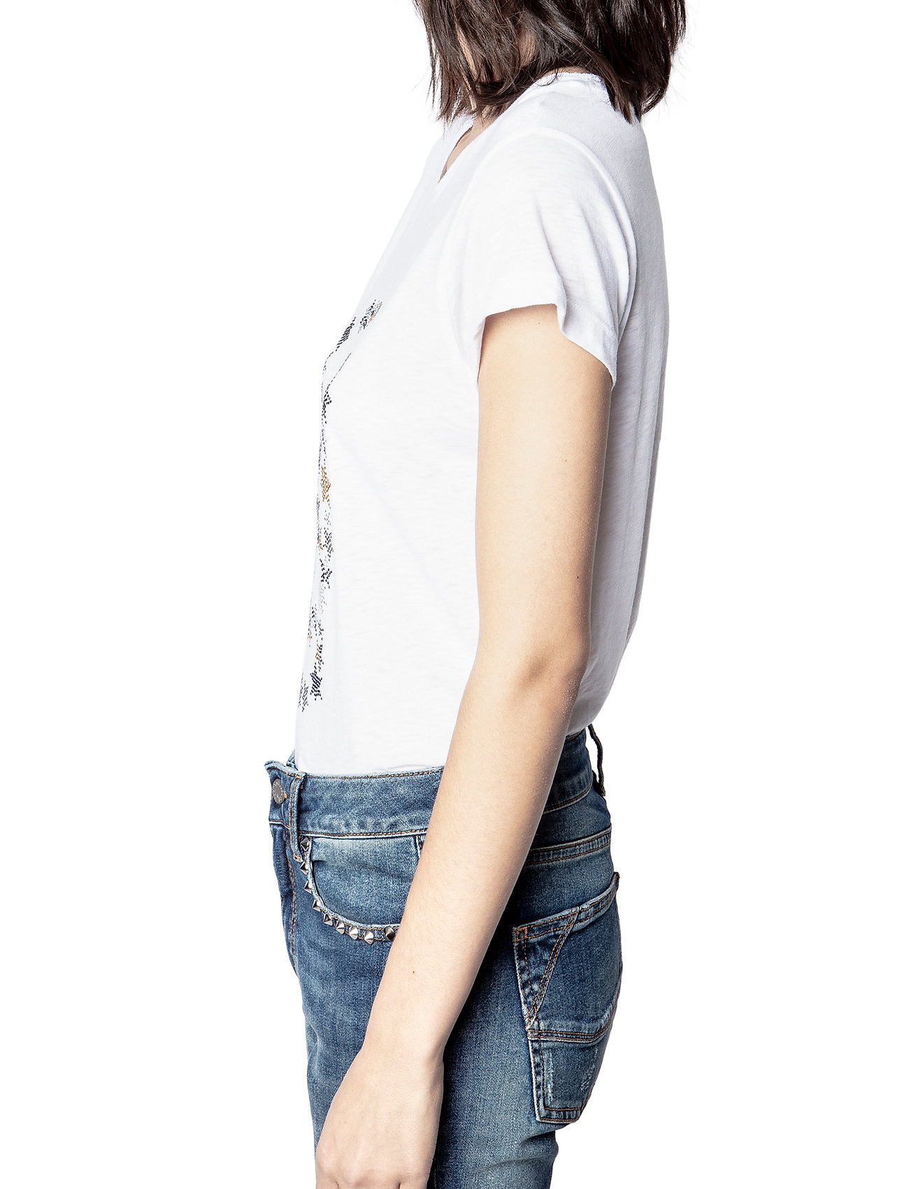 Zadig & Voltaire - SKINNY STRASS SKULL STARS CO/MODAL T-SHIRT - t-shirts - white - 5