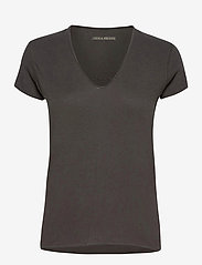 STORY FISHNET V-NECK COTTON T-SHIRT - CARBON