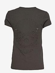 Zadig & Voltaire - STORY FISHNET V-NECK COTTON T-SHIRT - t-shirts - carbon - 1