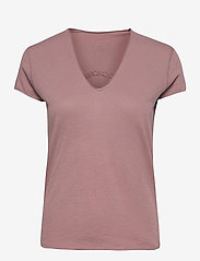 STORY FISHNET V-NECK COTTON T-SHIRT - VIOLET