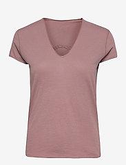 Zadig & Voltaire - STORY FISHNET V-NECK COTTON T-SHIRT - t-shirts - violet - 0