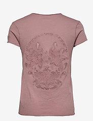 Zadig & Voltaire - STORY FISHNET V-NECK COTTON T-SHIRT - t-shirts - violet - 1