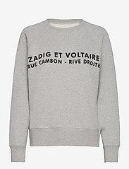 Zadig & Voltaire - UPPER ZV ADDRESS ORGANIC COTTON PRINTED SWEATSHIRT - sweatshirts & hættetrøjer - melange grey - 1